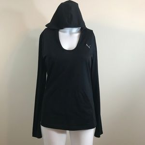 Puma hooded long sleeve sport top with pocket